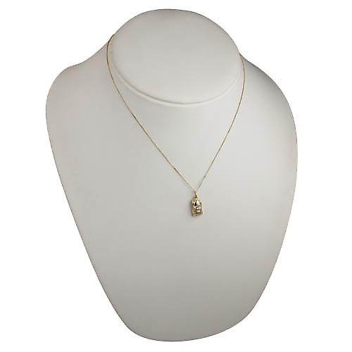 9ct Gold 8x16mm Car Pendant with a curb chain