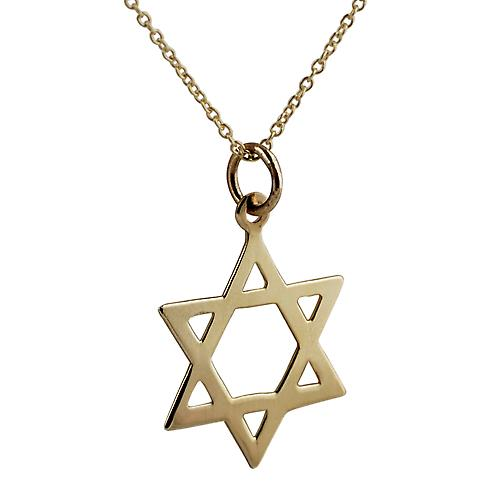 9ct Gold 21x17mm plain Star of David Pendant with a cable Chain 16 inches Only Suitable for Children