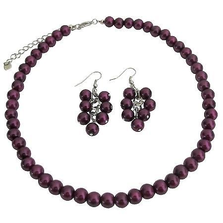 Elegant Striking Dark Puprle Pearl Necklace with Dangling Earrings