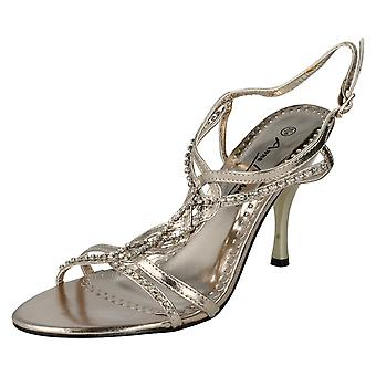 Ladies Anne Michelle Diamante Twist Strap Open Back Heels