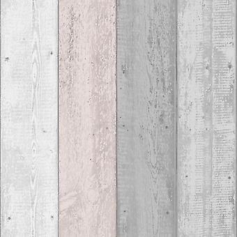 Painted Wood Panel Effect Grey Blush Wallpaper Grain Rustic Realistic Arthouse