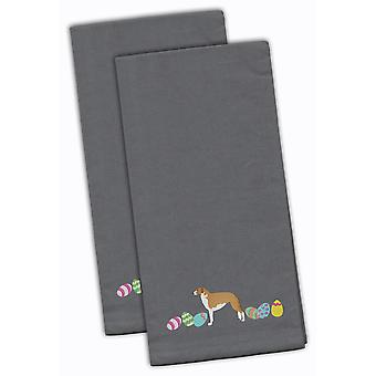 Borzoi Easter Gray Embroidered Kitchen Towel Set of 2