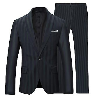 Allthemen Men's Black&Green Striped 2-Pieces Classic Casual&Formal Wild Suits Blazer&Trousers