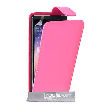 YouSave Huawei Ascend P7 LeatherEffect Flip Case Hot Pink