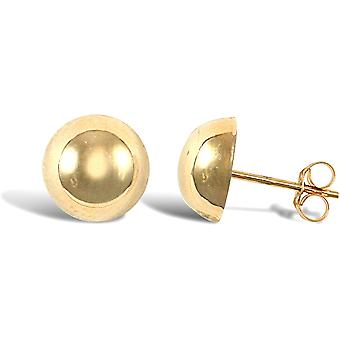 Jewelco London Ladies 9ct Yellow Gold Half Ball Stud Earrings, 9mm