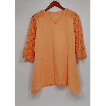 Denim & Co. Donne's Top V Neck 3/4 Sleeve Trapeze Hem Light Orange A278996