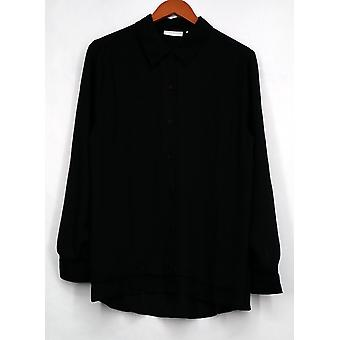 Susan graver top Feather Weave lange mouw knop front shirt zwart A273451