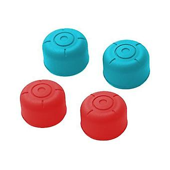Silicone circle grip thumb stick extender caps for switch joy-con controllers - 4 pack red & blue
