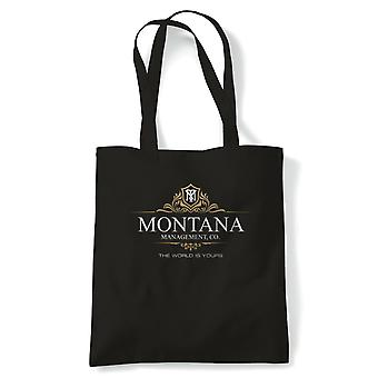 Montana Management Scarface Movie Inspired Tote | Reusable Shopping Cotton Canvas Long Handled Natural Shopper Eco-Friendly Fashion