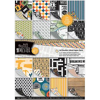 Papermania Double-Sided A4 Paper Pack 24/Pkg-Mr. Mister PM160196