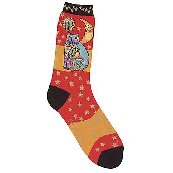 Laurel Burch Socks Celestial Cat Orange Socks 1073