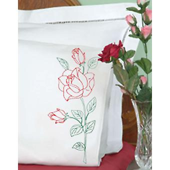 Stamped Pillowcases With White Perle Edge 2 Pkg Long Stem Rose 1600 134