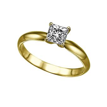 0.6 Carat H SI1 Diamond Engagement Ring 14K Yellow Gold Solitaire Classic 4 Prongs