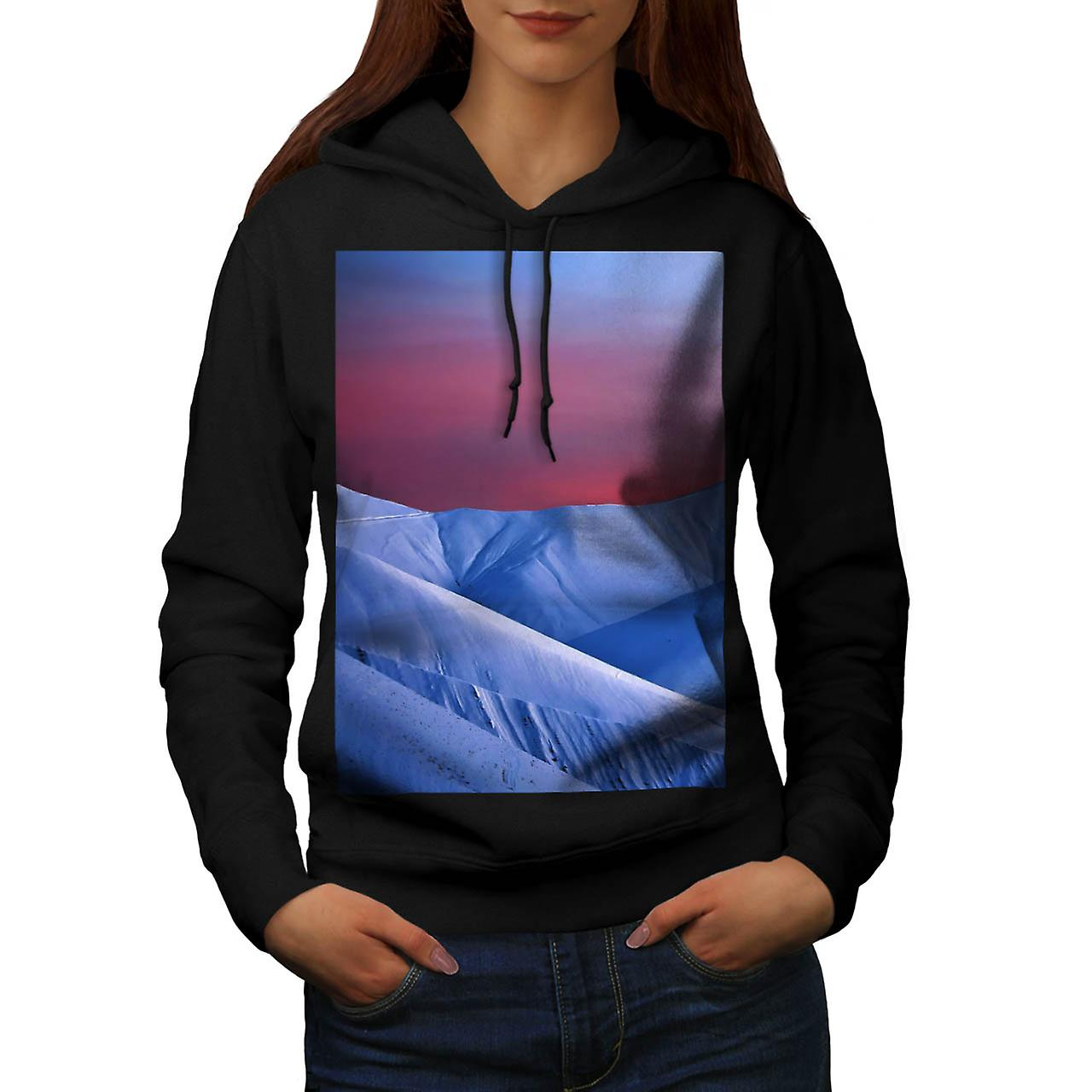 Sun Set Snow Mountain Ice Glacier Women Black Hoodie | Wellcoda