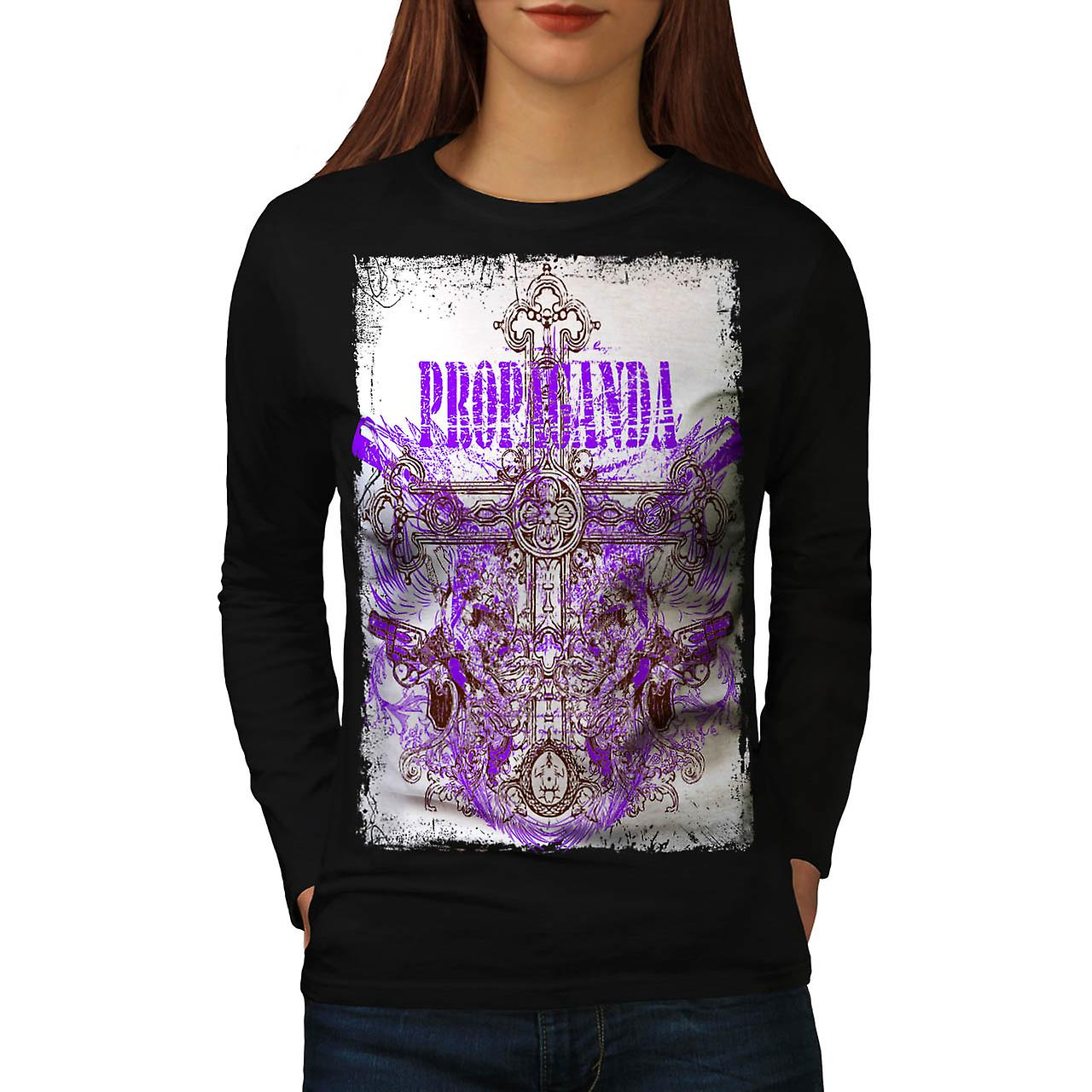 Propaganda Graveyard Grave Stone Women Black Long Sleeve T-shirt | Wellcoda