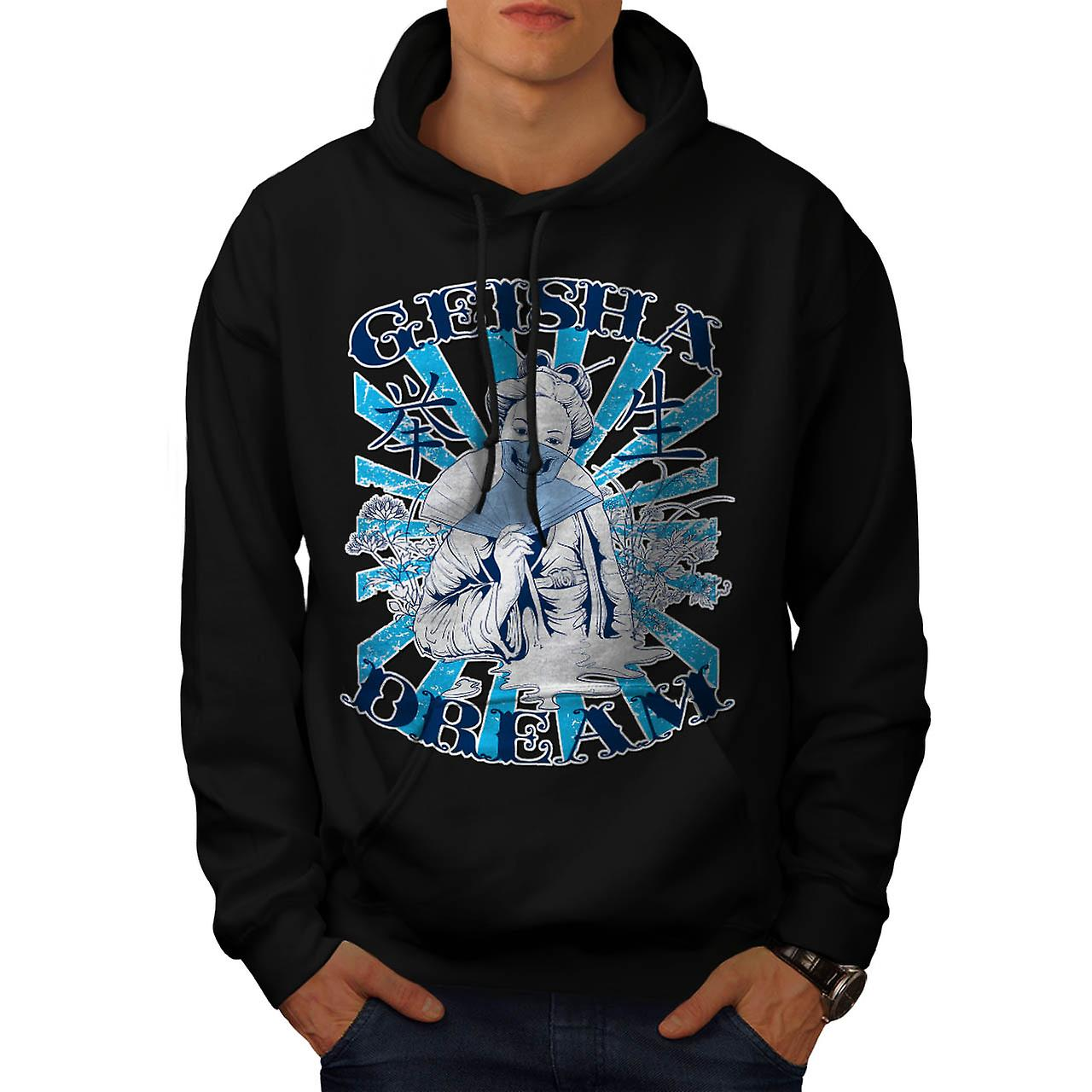 Geisha Dream Dead Fantasy Men Black Hoodie | Wellcoda