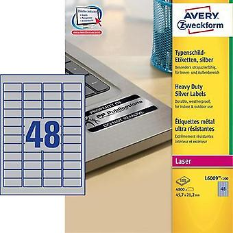 Avery-Zweckform L6009-100 Labels (A4) 45.7 x 21.2 mm Polyester film Silver 4800 pc(s) Permanent Nameplates Laser, Copier