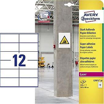 Avery-Zweckform L7875-20 Labels (A4) 105 x 48 mm Paper White 240 pc(s) Permanent, Strongly adhesive Adhesive labels (ext