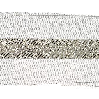 Bugle Beaded Tulle Trim 2-5/8