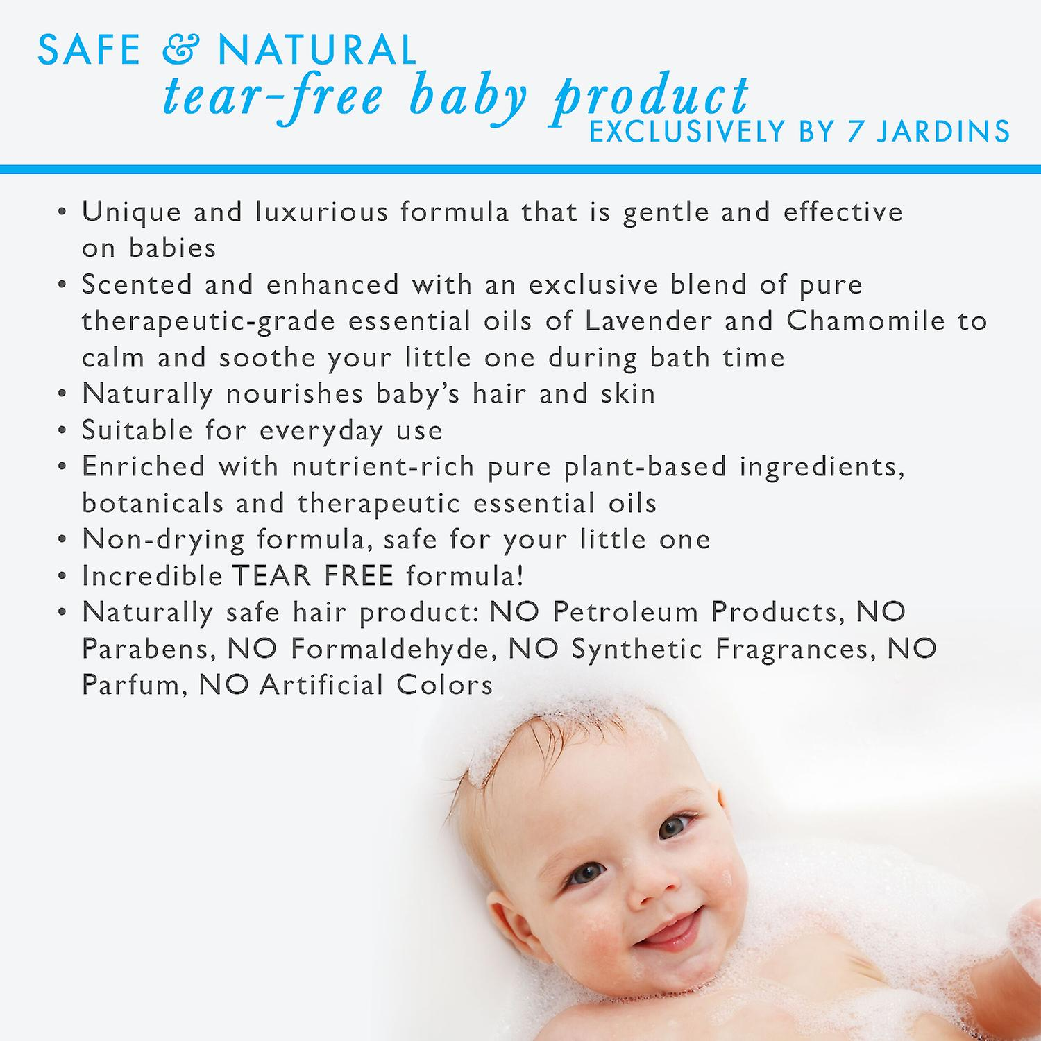 7 Jardins Natural Baby Shampoo & Body Wash - 2 in 1 Soothing for the Hair & Body Enriched with Calendula & Therapeutic Essential Oils. 8 oz. Gentle for Children of All Ages