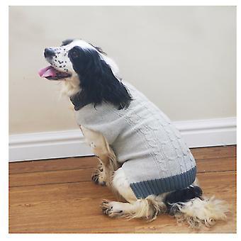 Huisdier kleding grijs tricot/bont kraag trui Extra Large 60cm