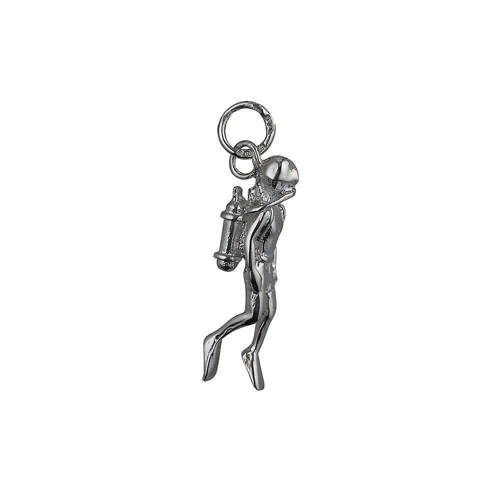 Silver 27x8mm Aqualung Diver Swimming Pendant or Charm