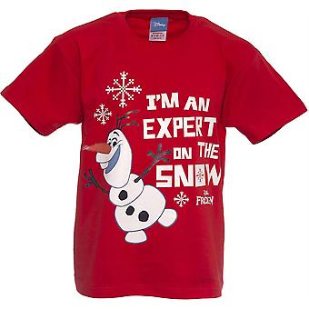 Boys Frozen Olaf T-shirt | Disney Olaf Tshirt | Official | EXPERT ON THE SNOW | Youth | 7-8 | RED