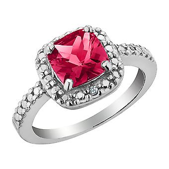 Created Ruby and Diamond Ring 2.0 Carat (ctw) in Sterling Silver