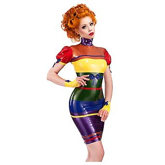 Vestpå bundet Rainbow Latex gummi kjole