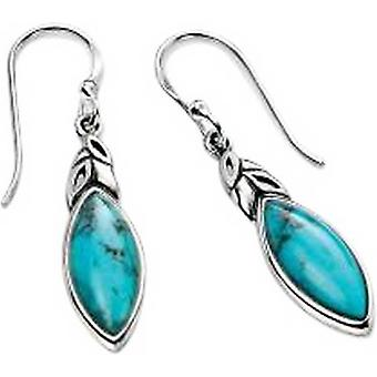 Elements Silver Turquoise Detail Hook Earrings - Silver/Blue