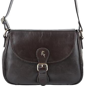 Ashwood Leather Flap Cross Body Bag Si 960a-brown/vt