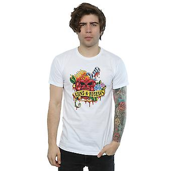 Guns corazón cráneo camiseta N Roses hombres