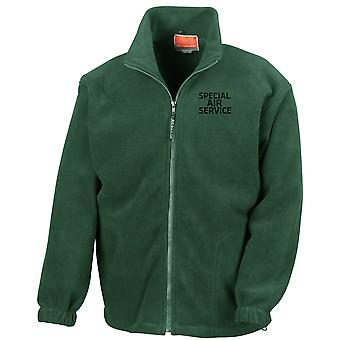 Special Air Service SAS Text Embroidered Logo - Official British Army Full Zip Fleece