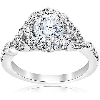 1 3 / 8ct Vintage verbeterd Diamond Halo verlovingsring 14K White Gold