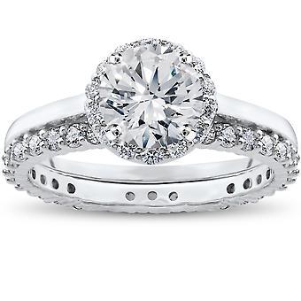2CT ami Eco Lab créé la bague de fiançailles diamant Madelyn Halo & Eternity Ring
