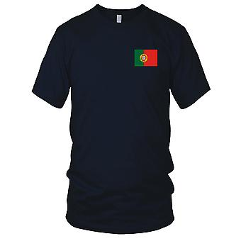 Nationalflagge Portugal Portugiesisch Land - Stickerei Logo - 100 % Baumwolle T-Shirt Herren T Shirt