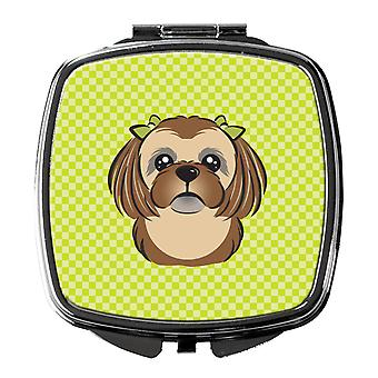 Checkerboard Lime Green Chocolate Brown Shih Tzu Compact Mirror