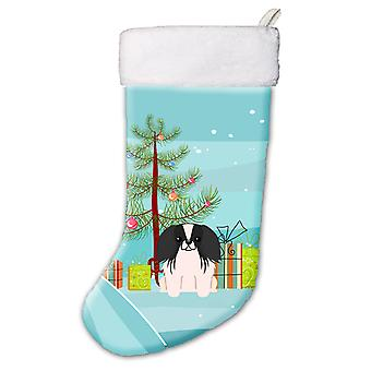 Merry Christmas Tree Pekingnese Black White Christmas Stocking