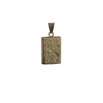 9ct Gold 22x15mm hand engraved flat rectangular Locket