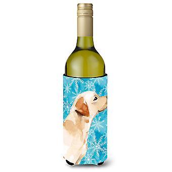 Yellow Labrador #2 Winter Wine Bottle Beverge Insulator Hugger