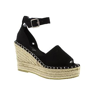 SUPERDRY Anna Wedge Espadrille - Sandales Womens Black (Textile)