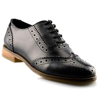 Ladies Womens Girls Leather Office Work School Lace Up Brogues Shoe