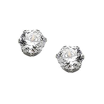 No Metal Stamp Stainless Steel White Synthetic Cubic Zirconia 6-Prong Faceted Round Stud Earrings