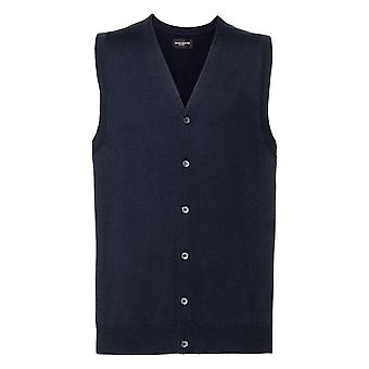 Russell Mens Sleeveless Cotton Acrylic V Neck Cardigan
