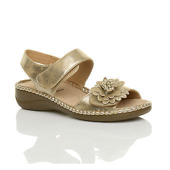 Ajvani dame lave kile hæl krog & loop strap slingback blomst comfort læder indersål sandaler sko