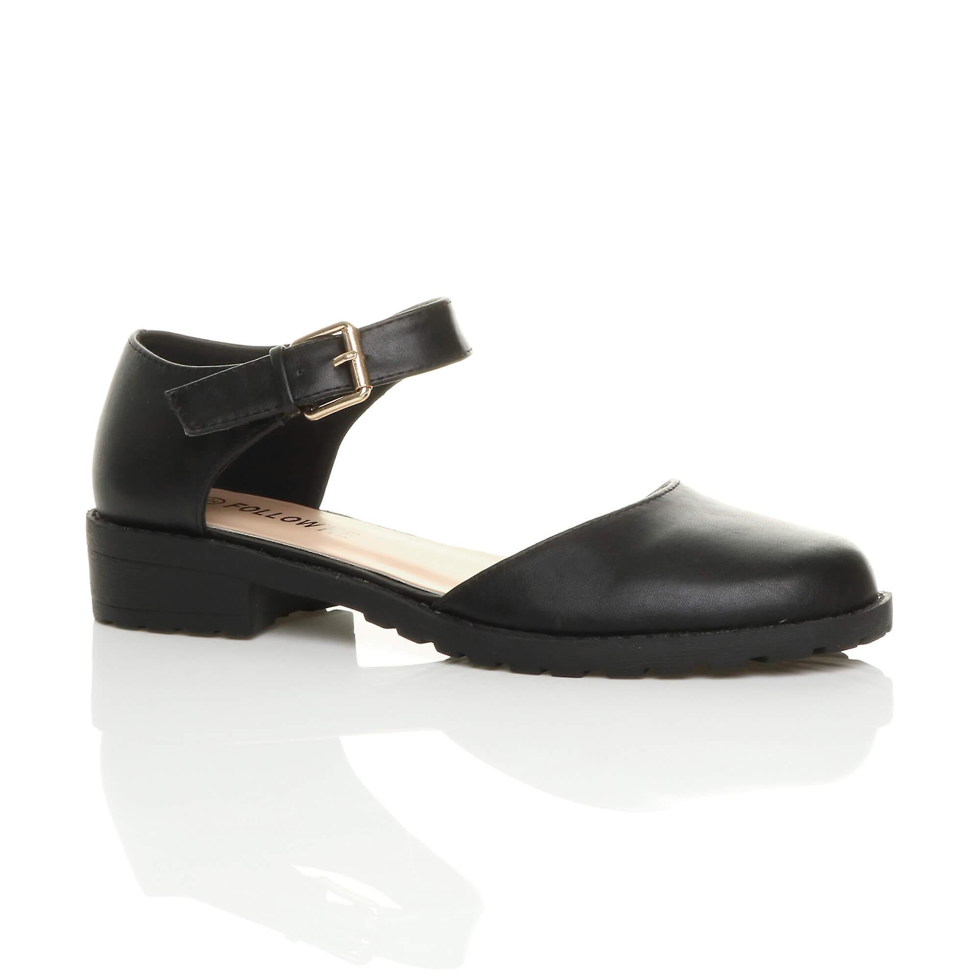 Ajvani womens low block heel ankle strap buckle cut out smart shoes