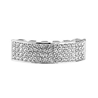 One Size Fits All Bling Grillz - FOUR LINE BOTTOM - Silber
