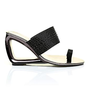 CAIRO Sleek Metallic Black Cut Out Diamante Shimmer Wedge Sandals