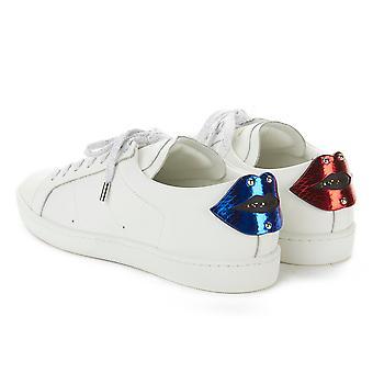 Saint Laurent Men's Leather Signature Court Classic Lips Sneaker Shoes White