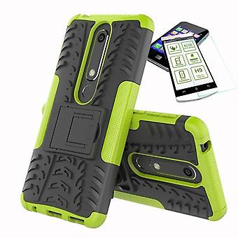 For Nokia 6 5.5 2018 hybrid case 2 piece green + tempered glass bag case cover sleeve new